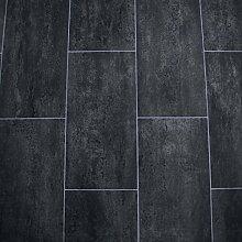 PVC Bodenbelag Fliese Schwarz Melbourne Noir Breite 2 m (9,95 EUR pro m²)