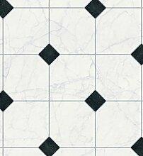 PVC Bodenbelag Fliesen(Holz)  Optik CV Belag Auslegware Bodenbelag Meterware Fliese Schwarz-Weiß 500 x 200 cm