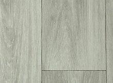 PVC-Bodenbelag Holzoptik feine Holzstruktur Hellgrau | Vinylboden in 2m Breite & 7m Länge | Fußbodenheizung geeignet | Rutschhemmende PVC Planken | Stark strapazierfähiger Fußboden-Belag | Made in Germany