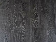 PVC Bodenbelag in schwarzen Planken (9,95€/m²),