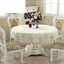 PVC,Ländliche Tischdecke/Wasserdicht,Einweg,Runde Plastik Tischdecke/Weichglas Tischdecke/Öl Tisch Couchtisch Pad-B Durchmesser180cm(71inch)
