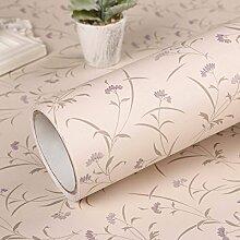 PVC-selbstklebende Tapete selbstklebende Tapete pastoralen Schlafzimmer Wohnzimmer TV Kulisse wasserdicht Tapetenkleister Aufkleber 60 * 500cm, A