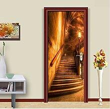 PVC selbstklebende Tür Aufkleber Goldene Korridor