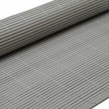 PVC Sichtschutzmatte 80x500cm Grau Windschutz Sichtschutz Doppelstabmatten Gartenzaun Terrasse Zaun NEU