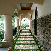 PVC Tapete 3D Garten Stein Pfad 3D Fliesen Boden