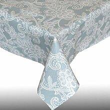 PVC-Tischdecke - abwischbar - wiederverwendbar für Party, Garten, Küche - Zartblaue Spitze - Rechteckig (180 x 137 cm)