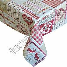 PVC-Tischdecke - abwischbar - wiederverwendbar für Party, Garten, Küche - Rothirsch - Quadratisch (137 x 137 cm)