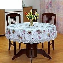 PVC Tischdecke Runde Tischdecke Für Hotels Wasserdicht ?lbest?ndig Wegwaschen Anti-hot Home Plastik Tischdecke Runde Tischdecke-B Durchmesser137cm(54inch)