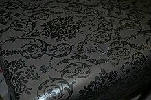 PVC-Tischdecke, Wachstuch mit floralem Damast-Design, abwischbar, Vinyl, in Schwarz/Grau von By TheFarbricTrade, PVC / Vinyl, schwarz, 400 X 140CM