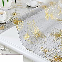PVC Tischset/Anti-heiß-plastik,Weiche Glas Tischdecke/Wasserdichte Kaffeematte/Europäische Tischdecke/Kristall-teller-H 80x130cm(31x51inch)