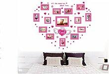 PVC-transluzente dekorative Liebe romantisches Fotorahmen Wandtattoos Wohnzimmer Wandbild