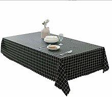 PVC Wasserdichte Tischdecke Schwarzes Gitter Weiß