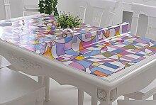 PVC-weiches Glas-Tabellen-Tuch wasserdichtes Anti-heißes Öl - freies Scrub Tisch-Matten-Kaffeetisch-Auflage-Tabellen-Tuch-Kristall-Platte ( farbe : B , größe : 80*130CM )