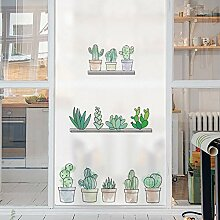 PVCOLL Fensterfolien Glasfoliegrüne Pflanze Matt