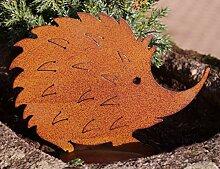 PW Rostoptik Igel auf Bodenplatte 15 cm Gartendeko