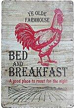 PXIYOU Landhaus-Bett und Frühstück roter Hahn,