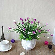 PYL-renzaohua Künstliche Blumen Bonsai, Bonsai Blume, Calla, Büro - Möbel - Fenster,Weiße,Lila