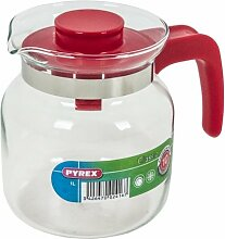 Pyrex Classic Hohe Kanne mit rotem Henkel, Glas, 1