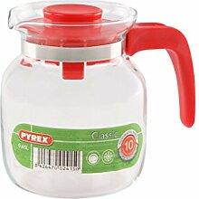 Pyrex Kanne, vielseitig verwendbar, rot, Glas,