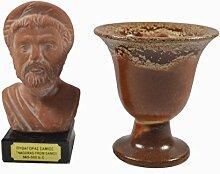 Pythagoras Skulptur Keramik auf Marmor plus