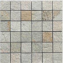 Q-006 Quarzit Naturstein Mosaik Wand und