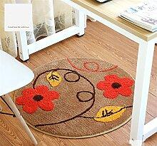 Q Art und Weise Teppich-Schlafzimmer-Wohnzimmer Bedside runde Teppiche Studie Raum Computer-Stuhl rutschfeste Matten (Farbe) ( größe : 80cm )