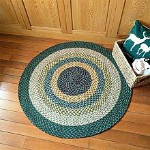 Q Dunkelgrün handgewebte kreisförmige Teppiche / Matten für Couchtisch Schlafzimmer Wohnzimmer Nachtcomputer Stuhl Yoga Fitness Verwendung ( größe : 80cm )