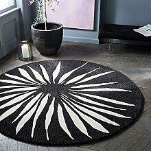 Q Einfache moderne schwarze und weiße runde Teppich Nachttisch Schlafzimmer Studie Computer Stuhl Cradle Bereich Teppiche / Matte ( größe : 100cm )