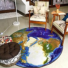 Q Fashion Creative 3D Earth Shape Runde Teppich, Eingangstür Stuhl Teppiche Study Room Computer Stuhl Matten Anti-Rutsch ( Farbe : Bunte , größe : 160cm )