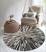Q Geometrischer gestreifter Teppich Schwarzweiss-Grau Einfache abstrakte Muster Runde Teppiche Study Room Computer Schreibtisch Und Stuhl Matten (schwarz) ( größe : 80cm )
