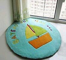 Q Hellblau mediterraner Stil runder Teppich Kinderbereich Teppiche / Matte für Schlafzimmer Study Zimmer Computer Stuhl Cradle ( größe : 150cm )