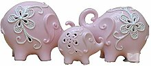 q HuanLeBao Keramik Heimtextilien Kreative Mode Hause Drei Elefanten Wie Nette Frische Keramik Dekoration , Pink
