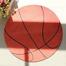 Q Karikatur Basketball Muster Teppich Junge Kinderzimmer Teppiche Computer Stuhl Matten Runde Teppich Dicker Non Slip Bereich Teppiche ( Farbe : Bronze , größe : 100cm )