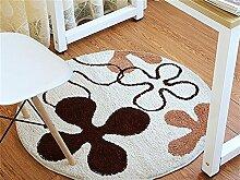 Q Mode Teppich Schlafzimmer Wohnzimmer Bedside Runde Teppiche Study Room Computer Stuhl Non-Slip Matten (weiß) ( größe : 120cm )