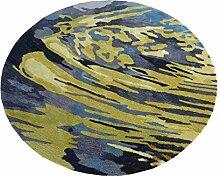 Q Modern Einfache Runde Teppich Wohnzimmer Schlafzimmer Restaurant Teppiche Klavier Computer Stuhl Matten (Gelb) ( größe : 100cm )