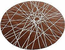 Q Modern Einfacher runder Teppich Wohnzimmer Schlafzimmer Restaurant Teppiche Klavier Computer Stuhl Matten (dunkelbraun - weiße Linie) ( größe : 90cm )