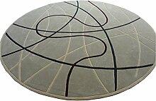 Q Moderne Einfache Runde Teppich Wohnzimmer Schlafzimmer Restaurant Teppiche Klavier Computer Stuhl Matten (Hellgrau - Braun Kurve) ( größe : 100cm )