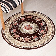 Q Pflanze Blumen runden Teppich, europäischen Stil Computer Stuhl Moderne Couchtisch Matten Home Schlafzimmer Bedside Bereich Teppiche Restaurant Wohnzimmer rutschfeste große Teppich ( Farbe : #8 , größe : 90cm )