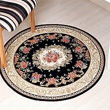 Q Pflanze Blumen runden Teppich, europäischen Stil Computer Stuhl Moderne Couchtisch Matten Home Schlafzimmer Bedside Bereich Teppiche Restaurant Wohnzimmer rutschfeste große Teppich ( Farbe : #1 , größe : 90cm )