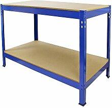q-rax Garage Robuster Stahl Schuppen/Metall DIY Werkbank, blau