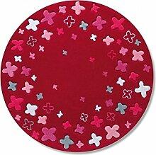 Q Red Lovely Flower Round Teppich Moderne Area Teppiche / Matte für Kinderzimmer Schlafzimmer Bedside Computer Stuhl ( größe : 120cm )