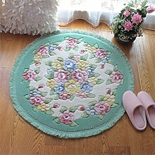 Q Rose Thick Round Teppich Schlafzimmer Wohnzimmer Teppiche Kosmetik Hocker Computer Stuhl Matten (80CM) ( Farbe : #6 )