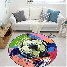 Q Runde Teppich Farbe Fußball Kreative Persönlichkeit Schlafzimmer Wohnzimmer Study Room Teppiche Computer Stuhl Matten ( größe : 80cm )