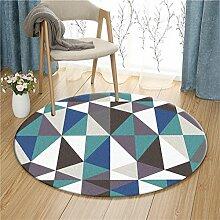 Q Simple Modern Teppich Nordic Circular Teppiche Wohnzimmer Schlafzimmer Study Room Computer Stuhl Matten (Dunkelblau Geometrie) ( größe : 120cm )