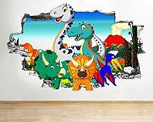 Q615 Cartoon Dinosaurier Kinder Cool Smashed Wall