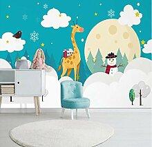 QAQB Wandbild, Cartoon, handbemalt, weiße Wolken,