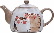 QARYYQ Japanische Keramik Teekanne Süße Katze