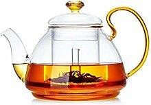 QARYYQ Transparentes Glas Goldene Teekanne