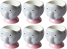 QAX Lustiges Porzellan-Eierbecher-Set für Kinder,