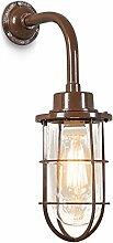 QAZQA Art Deco / Industrie / Industrial / Landhaus / Vintage / Rustikal / Retro / Wandleuchte Port braun / Innenbeleuchtung / Wohnzimmer / Schlafzimmer / Küche Glas / Metall / Rund LED geeignet E27 Ma